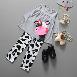 Wholesale Fall Tunics - Hot selling Children Girls Adorable cows Tunic Clothes printing Pants Set Toddler Girl Boutique Fall Outfits