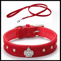Wholesale Leather Dog Collars Crowns - Free shipping Material Adjustable necklace Rhinestones Pet Cat Dog Crown Collar Soft Velvet Leash and Collar set XS S M L