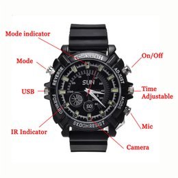 Wholesale 16gb Night Vision Recorder Watch - 8GB 16GB 1920*1080 30FPS Mini DVR Night Vision Waterproof Spy Watch Camera Mini DV DVR Camcorders Hidden Camera Video*Voice Recorder