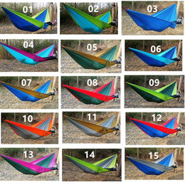 Wholesale Nylon Person Hammock - 260*140 Outdoor Double Person Hammock 24colors Parachute Cloth Hammock For Camping Hard Hanging Bed DHL Free