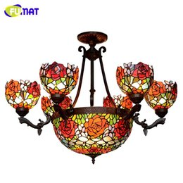 Wholesale Luxury Classic European Living Room - FUMAT Stained Glass Pendant Light Classic Glass Roses Shade Lightings For Living Room European Luxury LED Roses Pendant Light