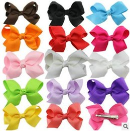 Wholesale Grosgrain Bows Hair Flowers - 100pcs Grosgrain ribbon Bows flower double prong clips covered hairpin Baby Bowknot hair Elastic bobbles bow hairband Hair Accessories kids