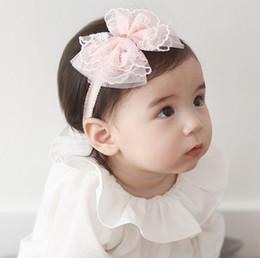 Wholesale Korean White Babies - Korean 2016 Cute Baby Girl Golden Heart Lace Bowknot Headband Baby Pretty Headwear New Born Photography Props Hair Accessories K7549