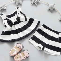 Wholesale 12 Months Girl Red Dress - 2PCS Newborn1 2 3 4 5 Years Baby Girls Bow tie Tank Tops Vest Striped Sleeveless Dresses + Shorts Pants Clothes Sets Girls New