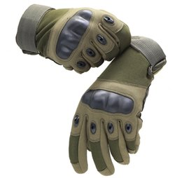 Wholesale Hard Finger - Wear-resistant Full Finger Military Hunting Gloves Hard Knuckle and Foam Protection for Airsoft Camping Cycling Hiking Outdoor