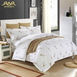 Wholesale Hotel Quality Duvets - Wholesale- Luxury White Hotel Duvet Cover Set Quality King Queen Size Bed Linen Cover 100% Cotton Bedding Set with Feathers Bed in a Bag