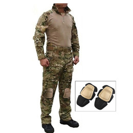 Wholesale Tactical Clothing Knee Pads - Outdoor Hunting Suits Men Equipment Airsoft Paintball BDU Clothes Tactical Hunting Clothes Shirt Pants Knee Pads Mens Hunting Sets