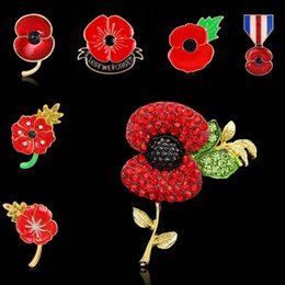 Wholesale red corsage pins - 28 Types Rhinestone Crystal Heart Flower Poppy Union Jack Brooches Pins British Gold Legion Brooch Corsage for UK Remembrance Day 170268