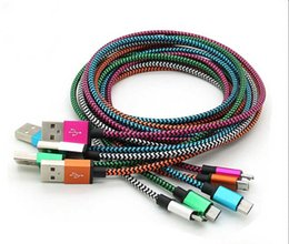 Wholesale Extra Long Cord Charger - Good Price Nylon Micro USB Fiber Braided Data Charger Cable Extra Long Fabric Knit Charging Cords For Mobile Phone
