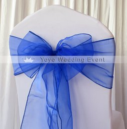 Wholesale Wholesale Sashes - Free Shipping 100PCS Royal Blue Chair Cover Crystal Organza Sash Bow For Wedding Chair Decoration