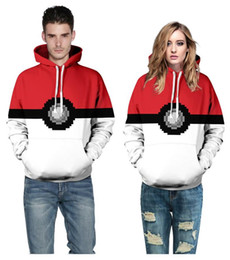 Wholesale Casual Costumes For Men - 2016 New fashion clothes with hat Poke 3D casual Hoodies pokeball 3D printing for men women Clothing free shipping in stock