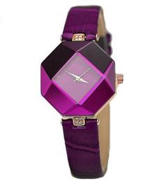Wholesale Simple Korean Girls - 2017 Hot Korean Prismatic Frame Fashion Ladies Leather Watch Unique design Simple and Elegant Outdoor Travel Girl Gift Quartz Clock