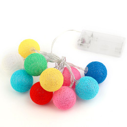Wholesale cotton ball lights wholesale - Wholesale- 10PCS LED Cotton Christmas Ball Light Dry Battery 1.2M String Lights for Banquet Christmas Decorations Home Trees