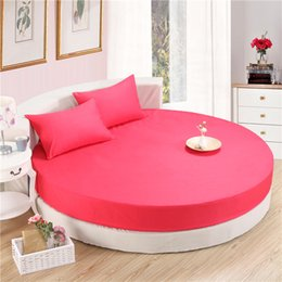 Wholesale Queen Topper - SunnyRain 3-Piece Solid Color 100% Cotton Round Fitted Sheet Set Round Bed Sheet Bedding Set Round Mattress Topper 200cm 220cm