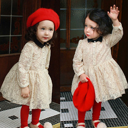 Wholesale New Fall Dresses Kids - brand quality 2016 Fall new style baby girls dress noble Palace dresses Puff sleeve lace Ball Gown party dress little kids clothing