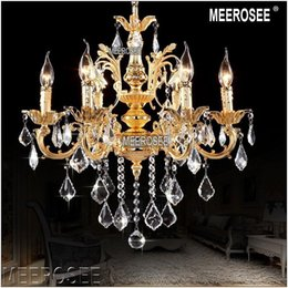 Wholesale Foyer Lighting Semi Flush - Classic 6 Arms Golden Clear Crystal Chandelier Light Fixture Crystal Lustre Hanging Lamp for Foyer Lobby MD8861 L6 D580mm H600mm