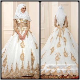 Wholesale Three Quarter Sleeve Wraps - 2017 Gold And White Islamic Wedding Dresses vestido de noiva Ball Gown Turkey With Three Quarter Sleeves Lace Bridal Gowns