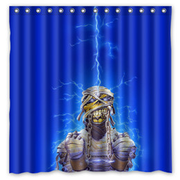 Wholesale shower curtain lights - Iron Maiden Undead Lightning Energy Light Design Shower Curtain Size 180 x 180 cm Custom Waterproof Polyester Fabric Bath Shower Curtains