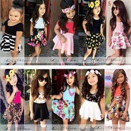 Wholesale Childrens Green Dresses - 2017 Girls Childrens Clothing Sets Summer Tank Top tshirts Floral Skirts 2Pcs Set Cotton Girl Kids Toddler Dresses Boutique Clothes Suits