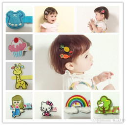 Wholesale Clips For Cloth - New Children safety baby barrettes cloth clip hair accessories embroidery hairpin hair clips for girls Embroidery cartoon hairpi