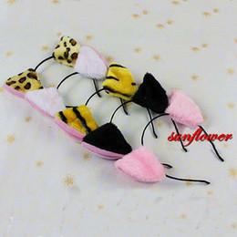 Wholesale Tiger Leopard Dresses - Animal Cat Tiger Leopard Ears Animal Zoo Bell Ribbon Headband Band Fancy Dress