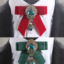 Wholesale Mens Wedding Suits Red Tie - British retro tie for gentlman suit dress crystal flannel ties wedding party mens ties cravat bow tie A quality fashion accessories