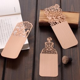 Wholesale Promotional Book - Wholesale-1PCs New Exquisite Hollow Out Pattern Wooden Bookmark Book Label Promotional Gift Stationery H1741