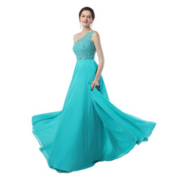 Wholesale Long Flowing Dresses Sexy - Real Image Sexy One-Shoulder Ice Blue Evening Prom Dress Long A-line Flowing Chiffon With Beading Women Prom Party Gowns