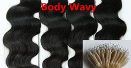 Wholesale Blonde Brown Body Wavy Extensions - 5A Grade 10-28'' Body Wavy 200 Beads + 0.5g*200s Black Brown Blonde Mixed Ombre Colors 100% Indian Remy Human Hair Extensions Nano Rings