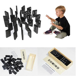 Wholesale Funny Boy Games - Wholesale- 28pcs set New Wooden Dominoes Traditional Board Travel Funny Game Table Game Kid Children Gifts