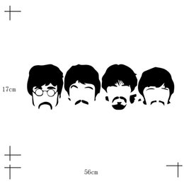 Wholesale Cheap Home Decor Wholesale - Art Design Cheap Vinyl Home Decoration Beatles Wall Sticker Cartoon Removable House Decor British Musician Wall Decal Bedroom 2PCS LOT