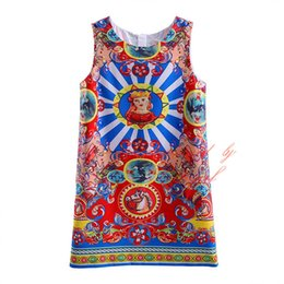 Wholesale Tank Tops For Girls Kids - Pettigirl 2016 New Ethnic Style Girls Tank Dress Fashion Pattern Sleeveless Tops for Kids Summer Teenager Clothes GD90124-527F
