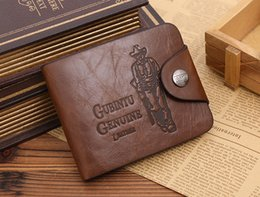 Wholesale High End Packaging - Men's high-end fashion simple, soft and comfortable leather short paragraph retro package cover type purse wallet hollow