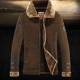 Wholesale Trench Coat Warm Liner - Wholesale- suede Jacket Men Winter Jackets and Coats Thickening Wool Windbreak Waterproof Warm Skin Lamb Fur Trench Coat Plus Size 3XL