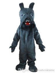 Wholesale Grey Dog Costume - SX0720 100% real picture a grey dog mascot costume with a big mouth for adult to wear