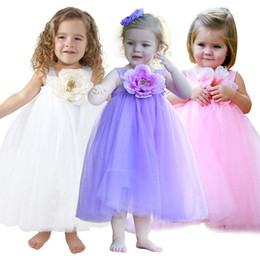 Wholesale Christmas Stocking 3d - Summer Girl Party wedding Dresses Children Kids 3d Big Flower Princess Sundress free shipping in stock