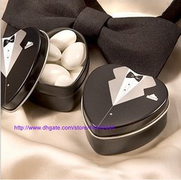 Wholesale Bride Wedding Tin Box - 2pcs=1set 500pcs Dressed To The Nines Heart Shaped Bride Or Groom Mint Tins Tin Candy Box Boxes Wedding Gift Favors Free Shipping