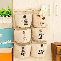 Wholesale m container - Hanging Bag Linen Cotton Fabric Wall Door Closet Bathroom Bedroom Storage Bags Cosmetics Sundries Container Hot Sale 2 7aq F R