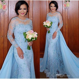 ice blue mermaid prom dresses Coupons - Illusion Long Sleeves Saudi Arabia Pageant Dresses 2017 Ice Blue Evening Gowns Appliques Bling Detachable Prom Gowns