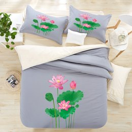 Wholesale Mens Bedding - 3D Lotus greenLeaves 3d bedding sets cotton print 4pcs bed set queen size grey color brief mens home morden duvet cover bedsheet mattress