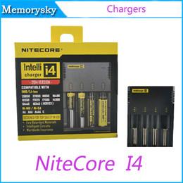 Lcd i4 online-Auténtico Nitecore I4 Cargador de batería para 18650 14500 17670 Intellicharger Digicharger Pantalla LCD Cargador de batería universal