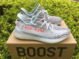 Wholesale Womens Cheap Winter Snow Boots - Kanye West Boost 350 V2 Zebra Blue Tint B37571 Real Boost Mens Womens Running Shoes Fashion Outdoor Sneakers Cheap Wholesale Online