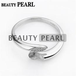 Bulk von 3 Stück Ringrohlinge DIY Schmuckherstellung 925 Sterling Silber Ring Einstellung Pin passt runde Perlen von Fabrikanten