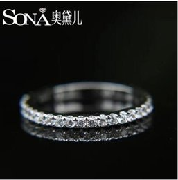 Wholesale Matching Wedding Rings - Luxury High Quality Super Sona Genuine Sterling Silver Group Mosaic Color Gold Inlaid Full Diamond A set All-match Female Wedding Ring