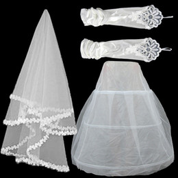 Wholesale Lace Petticoats - 3 in 1 set New Wedding Dress Lace Bridal Veil in stock Stretch Satin Gauze Gloves Petticoat Three Piece Bride Accessories