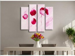 Handmade Red Flower Oil Painting On Canvas Modern Wall Art Decoration For Dining Room