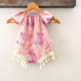 Wholesale Child One Piece - INS new infant baby newborn jumpsuits Girls floral printed tassel romper kids cotton romper children one-piece baby kids clothing