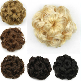 flower hairpieces Promo Codes - Wholesale-Hepburn flower hair rope New curly Can stretch Mixed fake hair bun Synthetic chignon bun hairpiece Caterpillar shape 6 colors