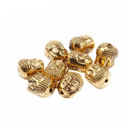 Wholesale Metal Buddha Charms - Wholesale 20Pcs lot Vintage Buddha Head Tibetan Silver Spacer Beads Metal Charms For DIY Jewelry Making Bracelets