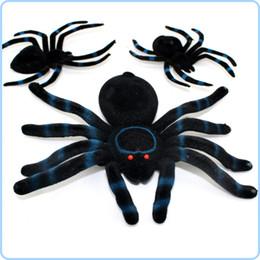 Joyas de juguete online-Spider Halloween Decoración maquillaje miedo apoyos Navidad Flocked Negro Funning Broma Truco Juguetes regalo Decoración Prop Jel Jewels Ornamento